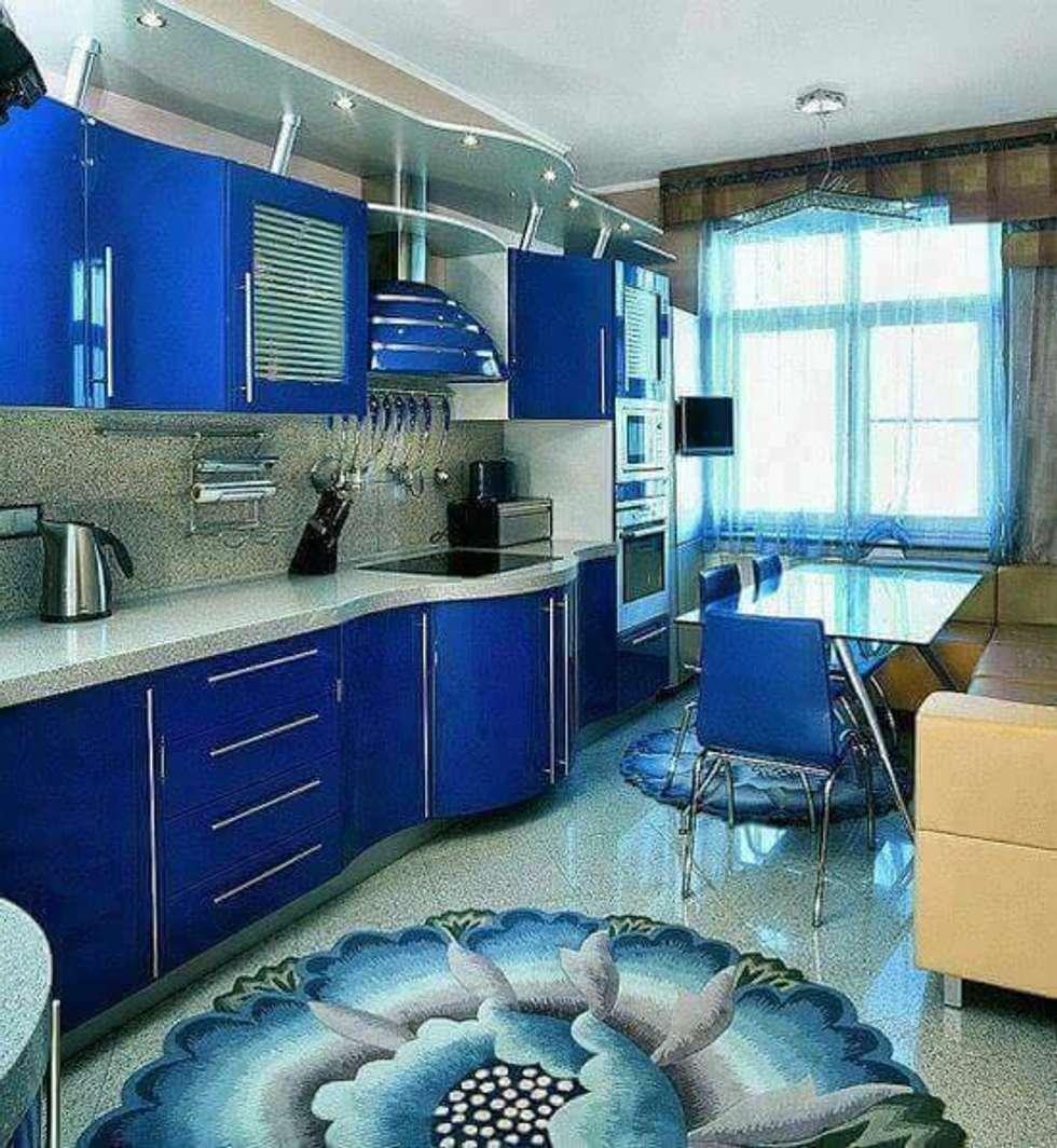 Галерея кухонь синего цвета, часть 4.
