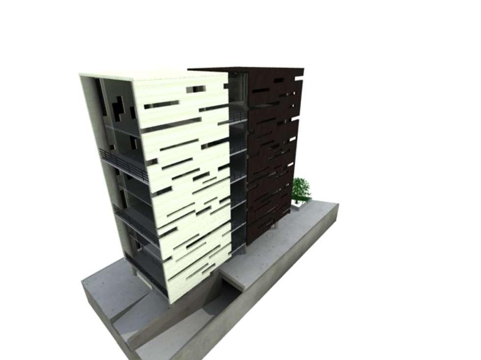 L _ 24 - Sur _ Apartamentos LoftsL _ 24 - Sur _ Apartamentos Lofts: Casas de estilo industrial por tresarquitectos