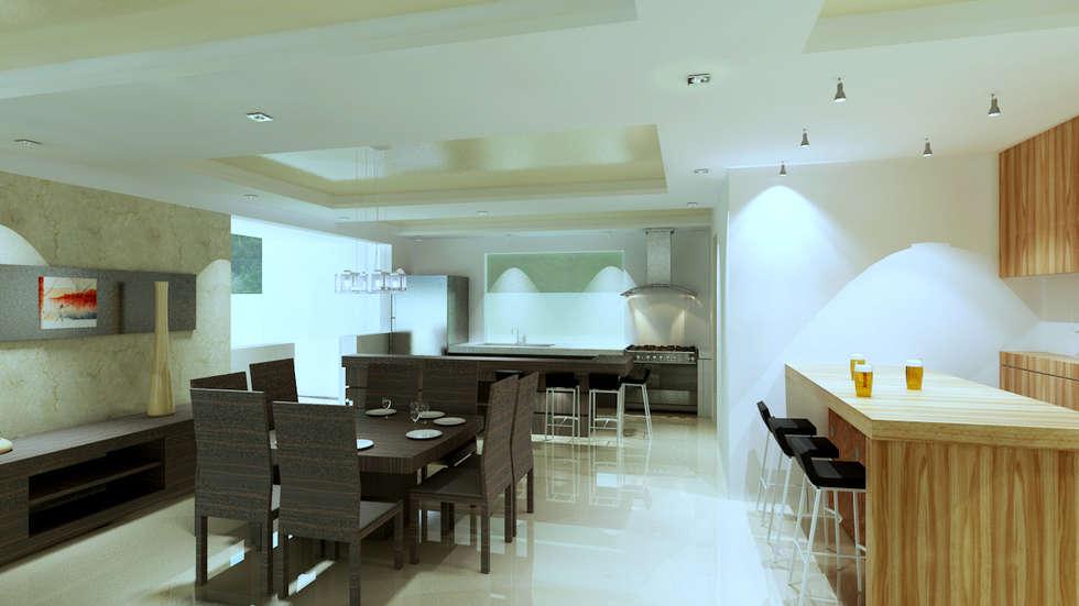 Renders interiores comedores de estilo moderno por for Interiores de comedores