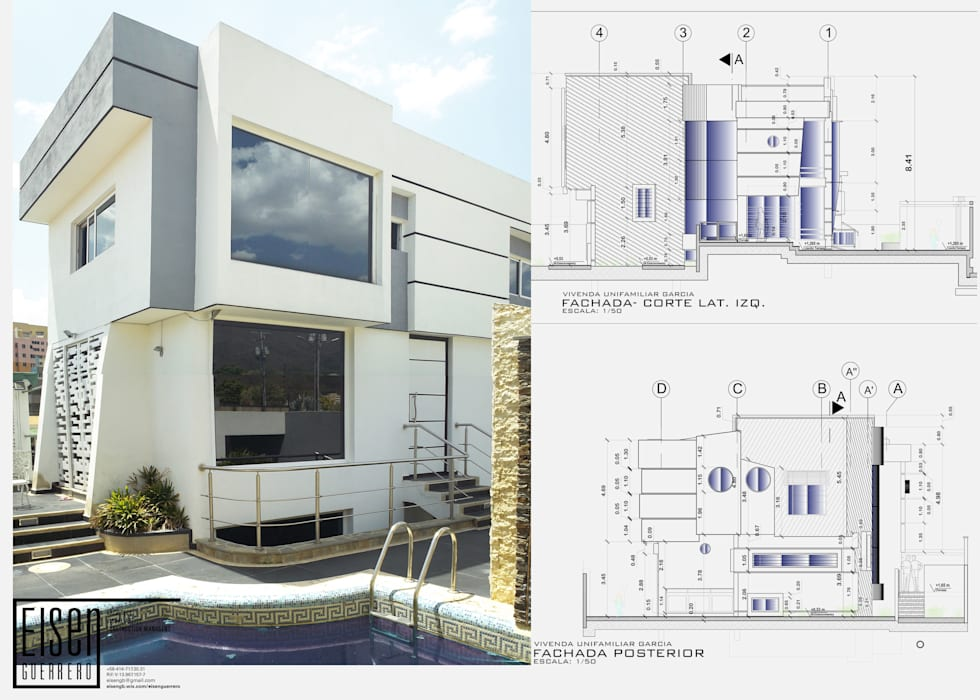 Fachada Frontal-Lateral (Este-Sur): Casas de estilo escandinavo por Eisen Arquitecto