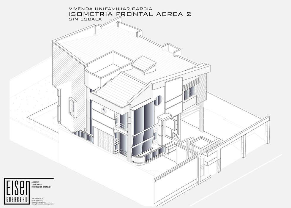 Isometría Frontal-Sur: Casas de estilo escandinavo por Eisen Arquitecto
