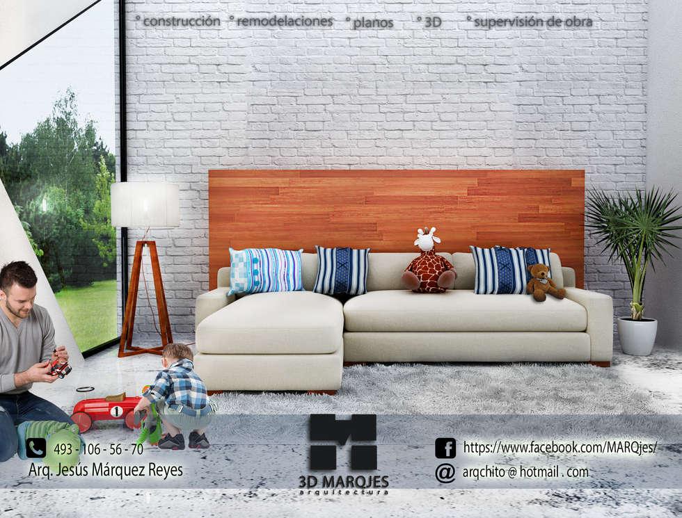Nordic Scene By   Arq. Jesús Márquez Reyes: Salas de estilo escandinavo por 3D MarqJes arquitecto