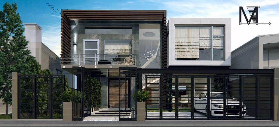 Render Propuesta--Fachada casa habitacion--nivel residencial.: Casas de estilo moderno por MIRARQPERSPECTIVAS