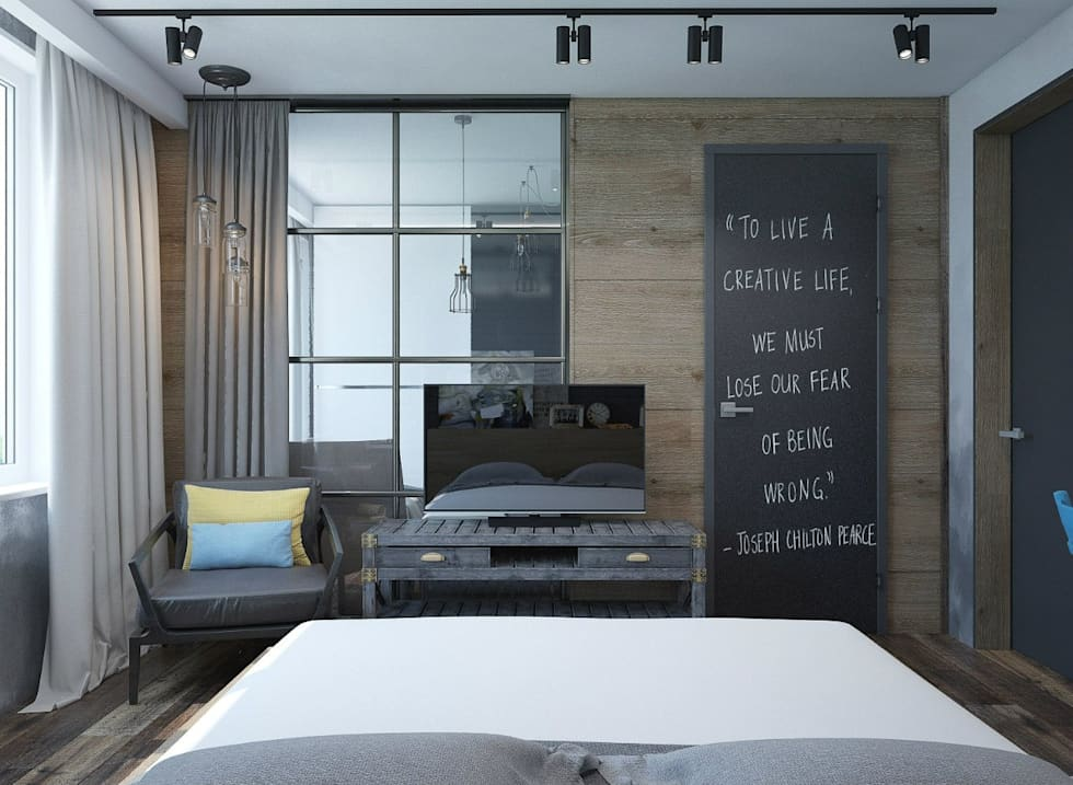 Habitaciones de estilo industrial por Interior designers Pavel and Svetlana Alekseeva