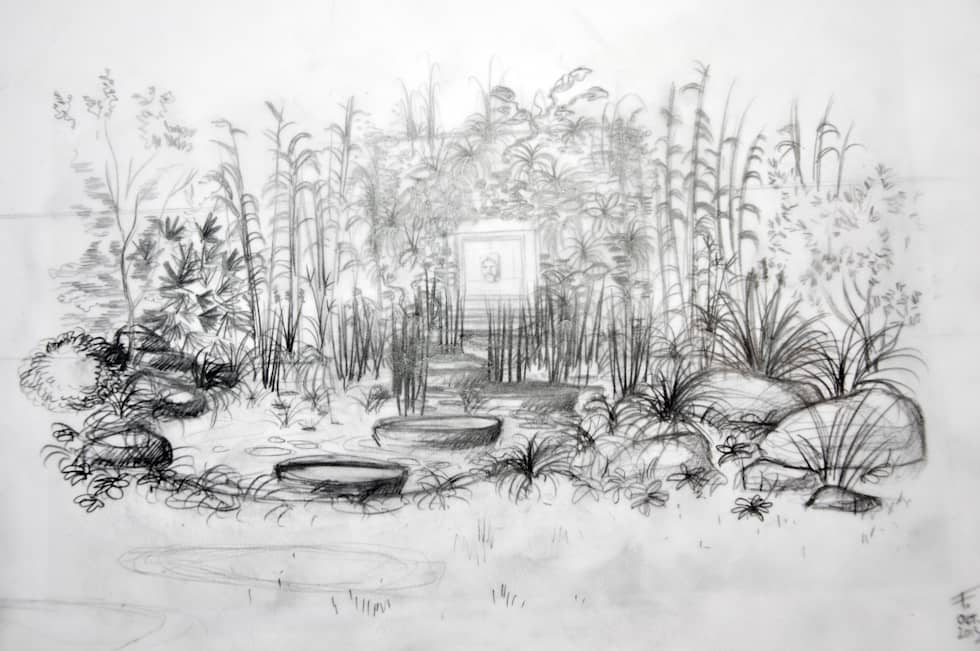 Jardin-bassin, Rueil-M.: Jardin de style de style Moderne par F'CHASTA CRÉATIONS