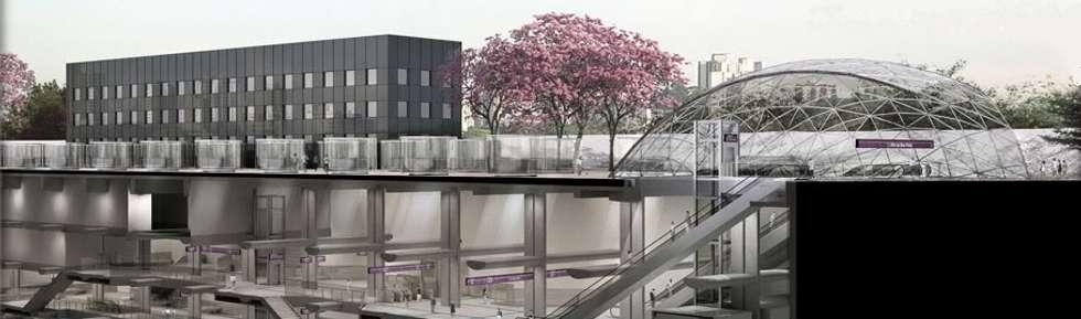 Boavista station: Case in stile in stile Moderno di Studio Associato di architettura MBiM
