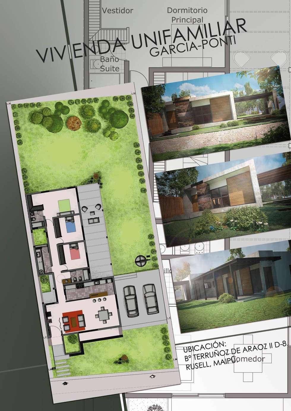 Vivienda Garcia-Ponti: Casas de estilo moderno por Hornero Arquitectura y Diseño