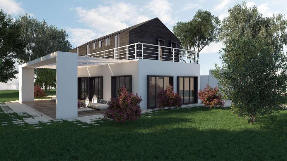 Rendering esterni case in stile in stile moderno di fad for Costo di costruzione moderno della fattoria
