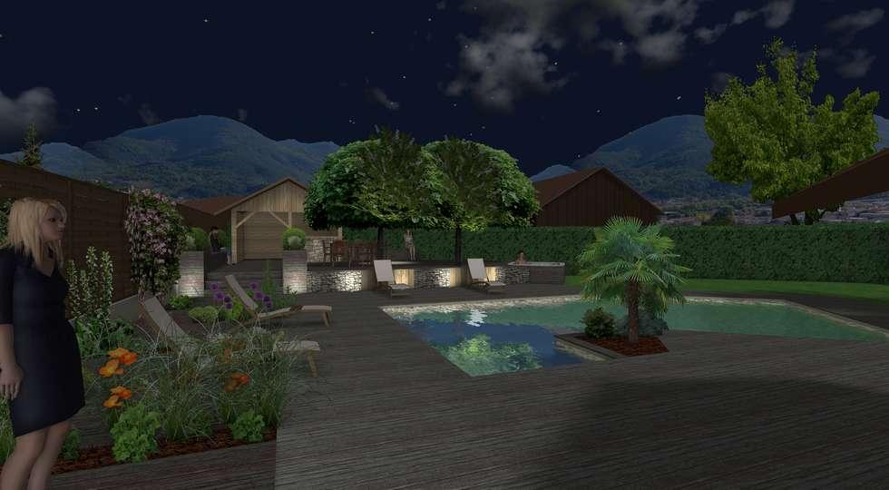 Un tableau nocturne: Jardin de style de style Moderne par Anthemis Bureau d'Etude Paysage