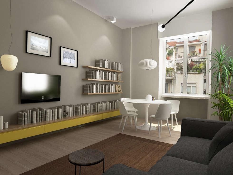 soggiorno-pranzo: Sala da pranzo in stile in stile Moderno di Euga Design Studio