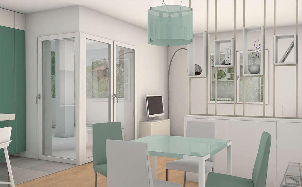Casa S: Sala da pranzo in stile in stile Moderno di Laboratorio Creativo Up