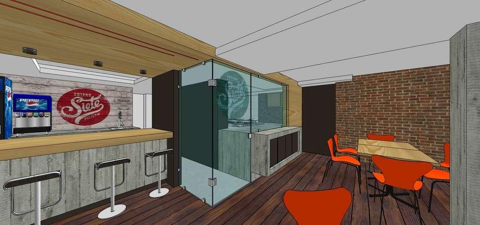 Vista externa del área de preparación y horneado a la leña: Restaurantes de estilo  por MARATEA Estudio