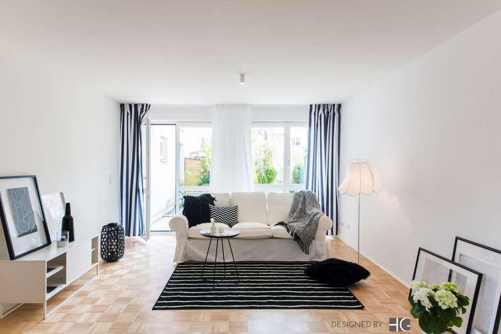 Wohnzimmer in schwarz/weiß: skandinavische wohnzimmer von münchner ...