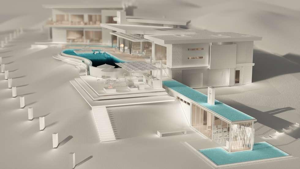 Modelo digital Casa FM: Piscinas de estilo rústico por Leo Velandia Arquitectos