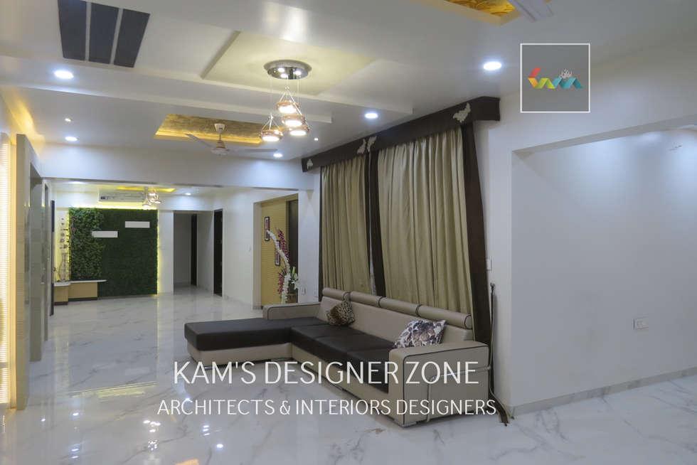 Home interior design for preeti agarwal modern living room by kams designer zone