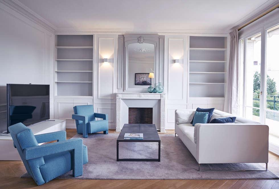 Duplex Neuilly: Salon de style de style Moderne par Anne Lapointe Chila