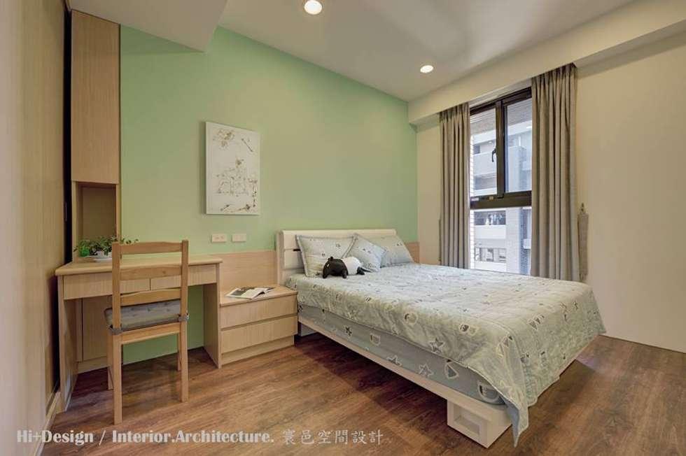 次臥室:  臥室 by Hi+Design/Interior.Architecture. 寰邑空間設計