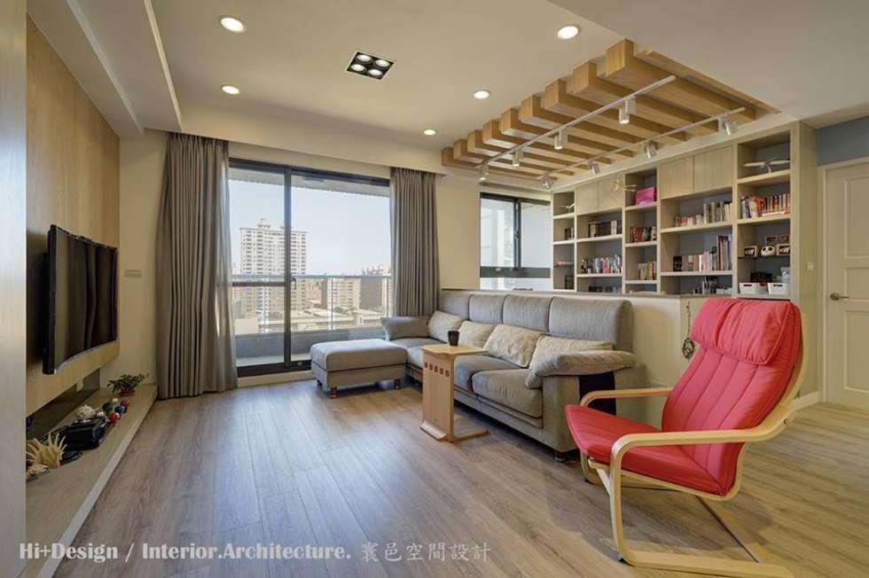 客廳+開放書房:  客廳 by Hi+Design/Interior.Architecture. 寰邑空間設計