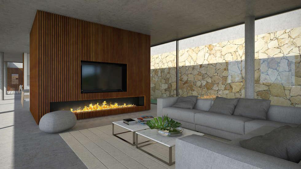 Fotos de salas de estar minimalistas moradia em lagos  homify