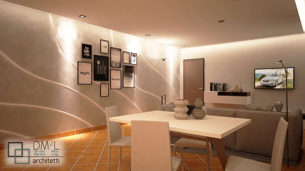 Openspace contemporaneo ristrutturato: Sala da pranzo in stile in stile Moderno di DM2L