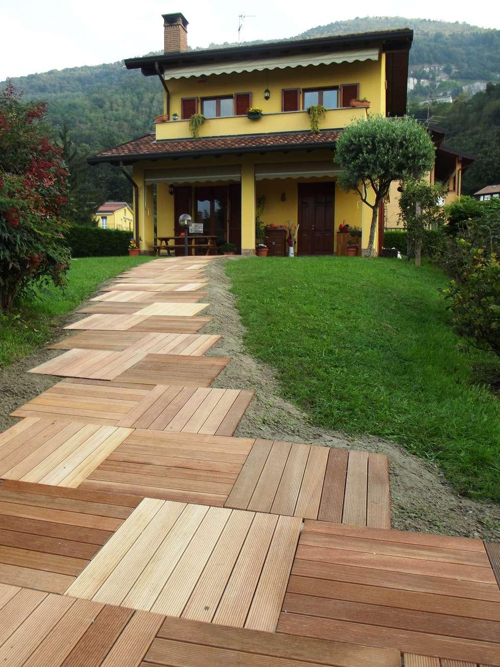 Sentiero con mattonelle da esterno in legno di Ipè: Giardino in stile in stile Asiatico di ONLYWOOD