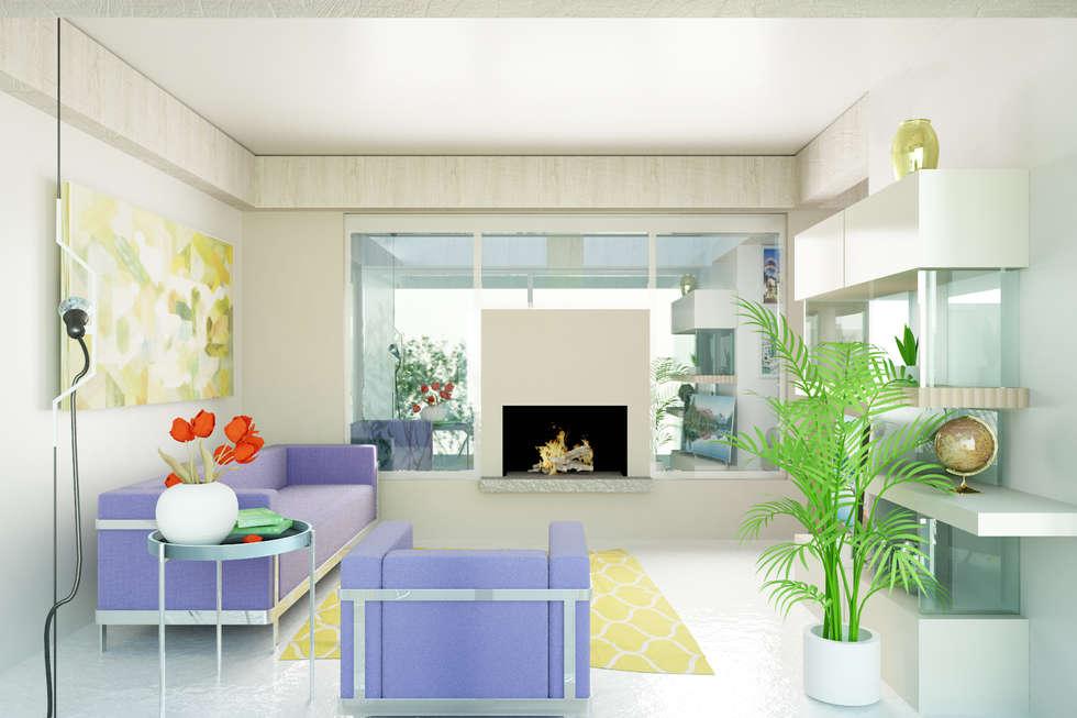 Soggiorno con camino su vetrata soggiorno in stile in stile