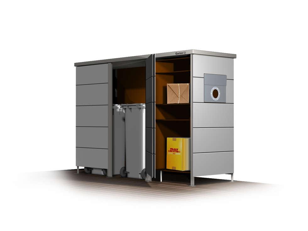 garten q trash m lltonnenhaus mit paketbox und oder briefkasten moderner garten von garten q. Black Bedroom Furniture Sets. Home Design Ideas
