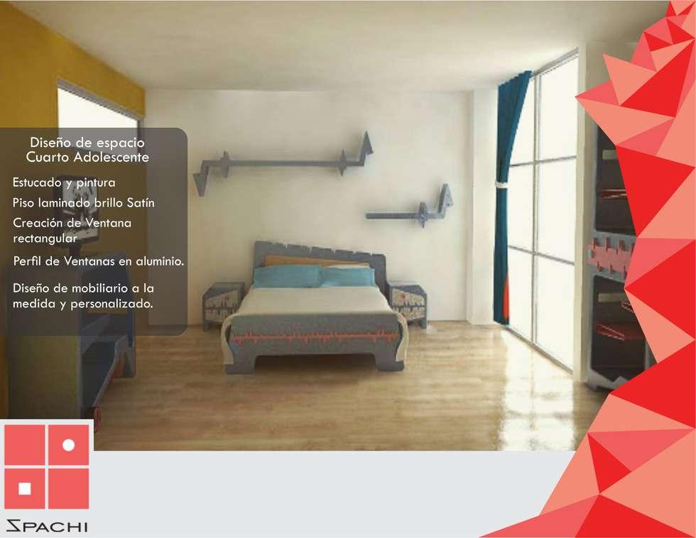 Diseño espacio Cuarto Adolescente: Habitaciones de estilo ecléctico por Spachi Arquitectura Comercial