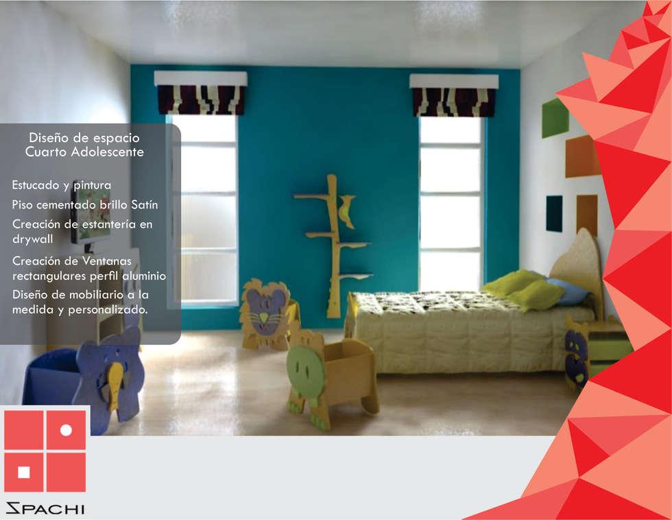 Habitación para niños Jungle: Habitaciones infantiles de estilo  por Spachi Arquitectura Comercial