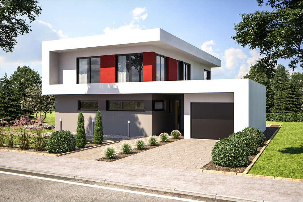 Wohnideen interior design einrichtungsideen bilder for Flachdachhaus mit doppelgarage