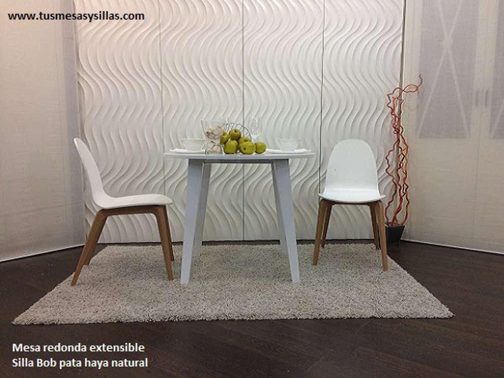 Mesa redonda extensible en color blanco de 80 cm: cocina de estilo ...