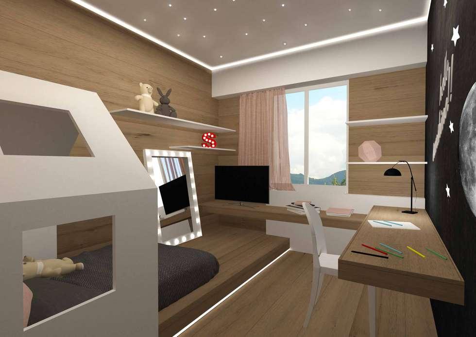 cameretta bambina varie angolazioni: Camera da letto in stile in stile Minimalista di Giemmecontract srl.