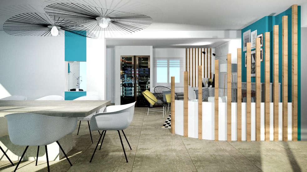 Aménagement d'une salle à manger contemporain avec cheminée par Tiffany Fayolle Architecte d'intérieur et Décorateur à Lyon: Salon de style de style Moderne par Tiffany FAYOLLE