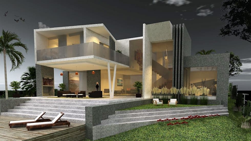 Vista Posterior: Casas de estilo moderno por CASTELLINO ARQUITECTOS (+)