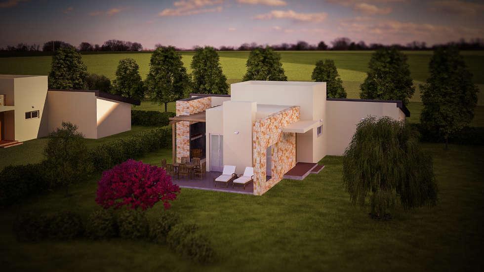 Diseño de parquización Complejo Turistico ,Cabañas -Resort alto nivel,zona de viñedos,San Rafael,Mendoza: Jardines de estilo rústico por LT Paisaje Diseño Sustentable