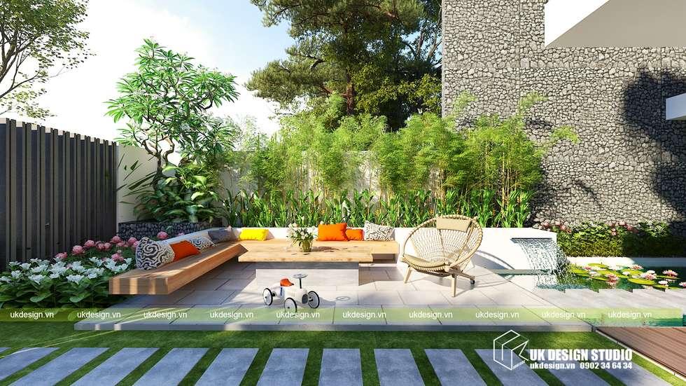 Biệt thự hiện đại 10 x 20m:  Nhà by UK DESIGN STUDIO - KIẾN TRÚC UK