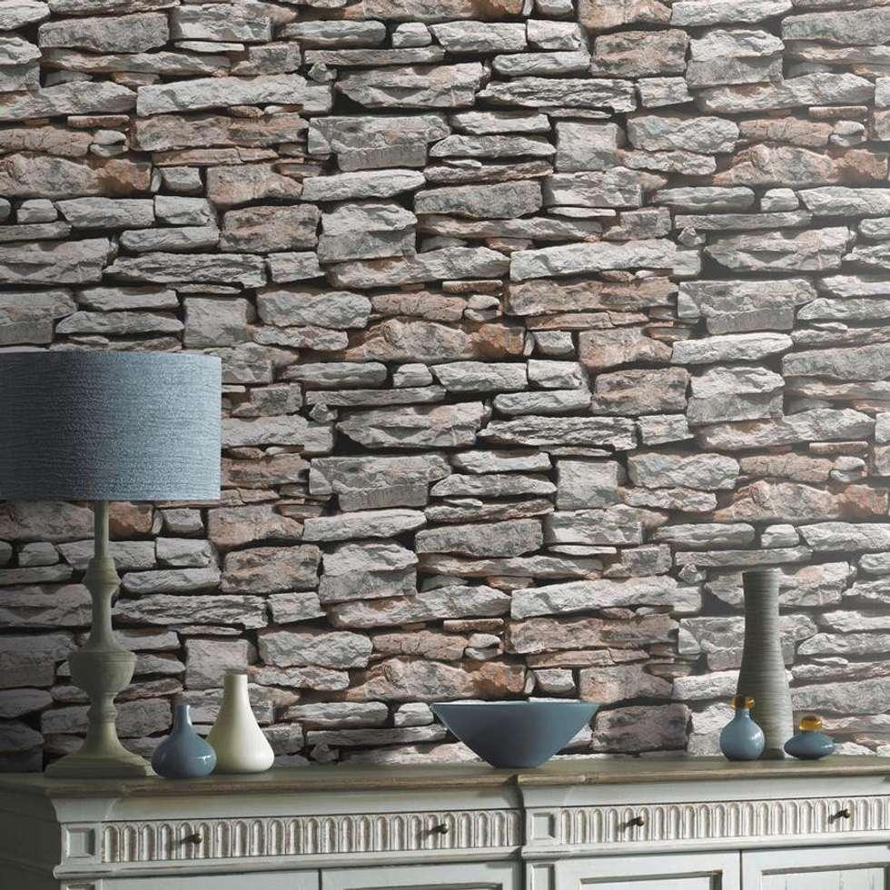 Papel Pintado Imitación Muro De Piedra : Paredes Y Suelos De Estilo Rústico De  Papel Pintado