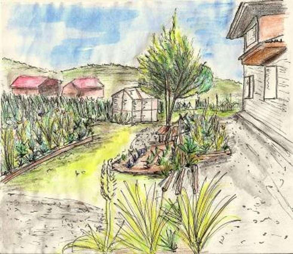 Una Huerta-Jardín sustentable: Jardines de estilo rural por Pell Paisajismo