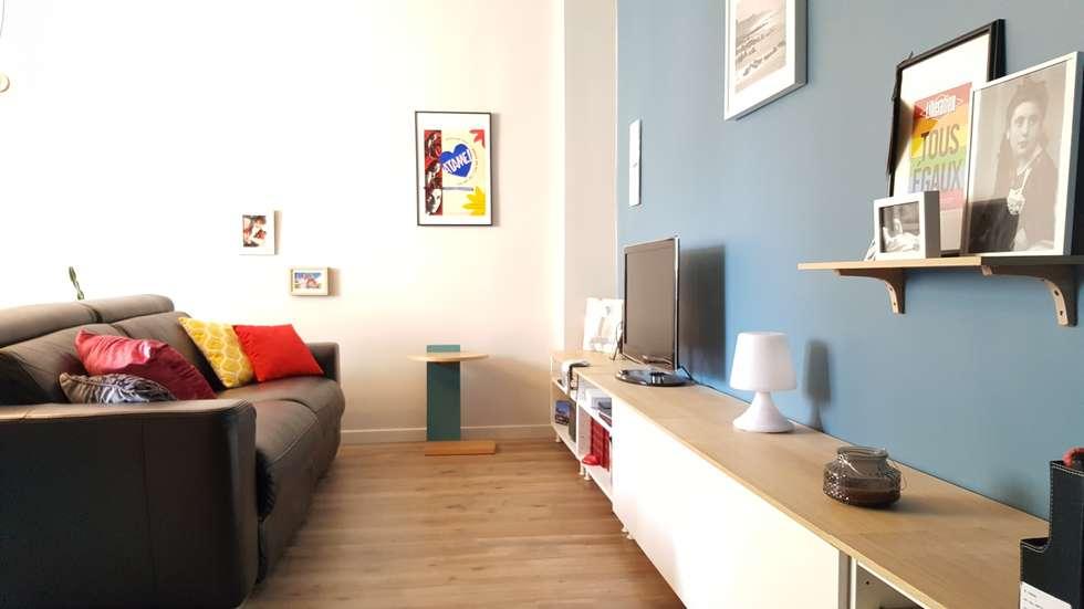 Un souffle de fraîcheur sur cet appartement du 19e: Salon de style de style Moderne par Joseph Vithaya