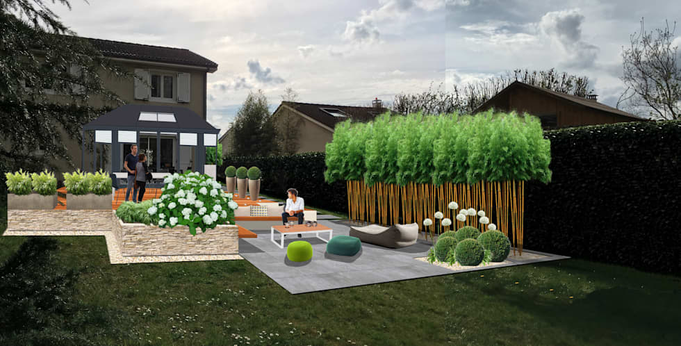 stunning jardin moderne epure gallery. Black Bedroom Furniture Sets. Home Design Ideas
