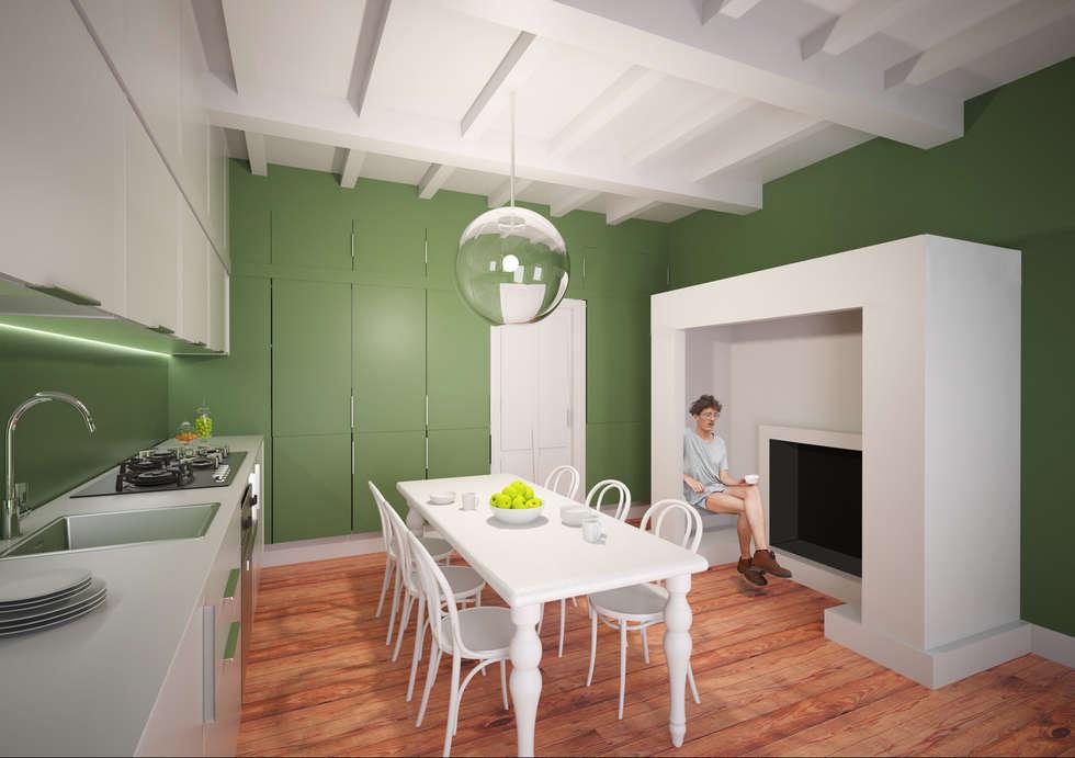 Restyling cucina con nicchia camino abitabile: cucina attrezzata in ...