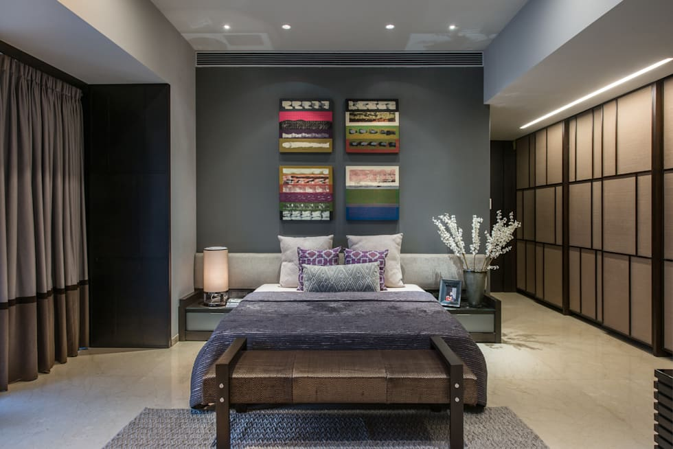 Apartment in Juhu: eclectic Bedroom by Rakeshh Jeswaani Interior Architects