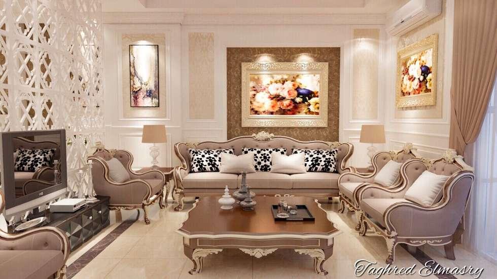غرفة استقبال :  غرفة المعيشة تنفيذ Taghred elmasry