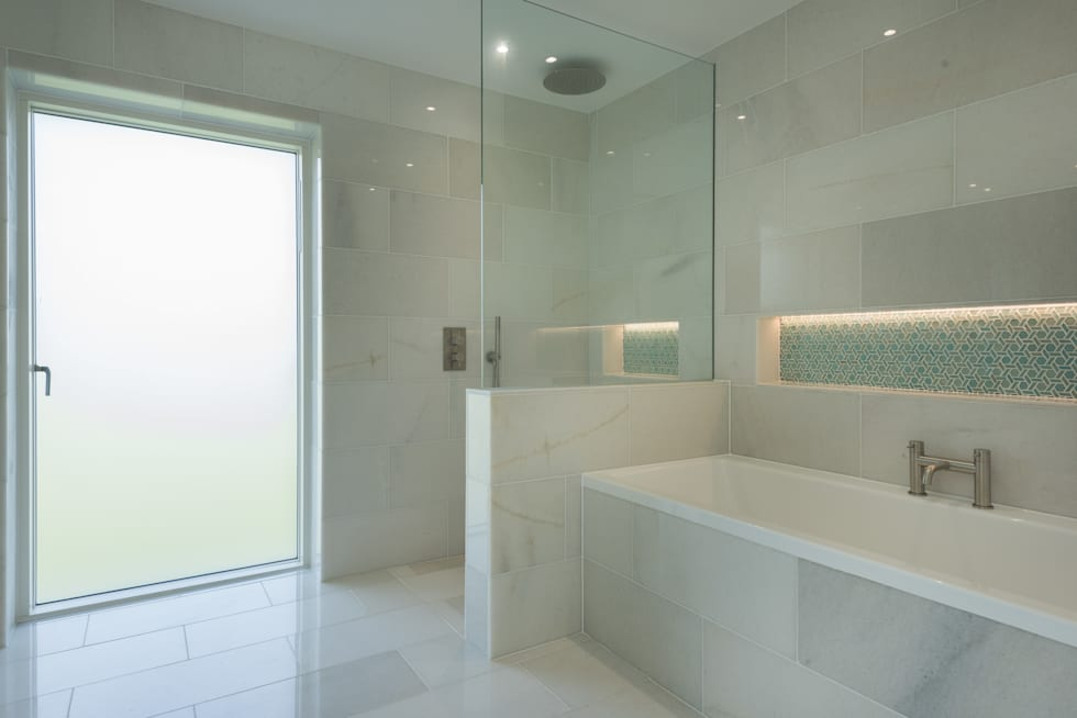 Contemporary Replacement Dwelling, Cubert: modern Bathroom by Laurence Associates