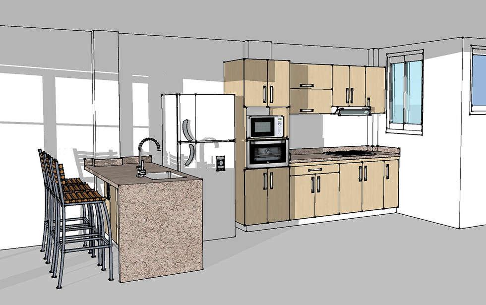 Cocina integral con barra: Cocinas de estilo moderno por Remodelar Proyectos Integrales