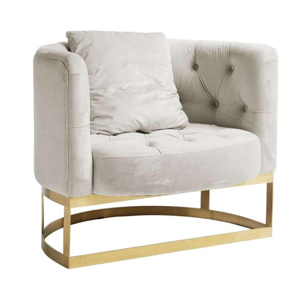 Samt sessel creme weiß, rundsessel: minimalistische wohnzimmer von ...