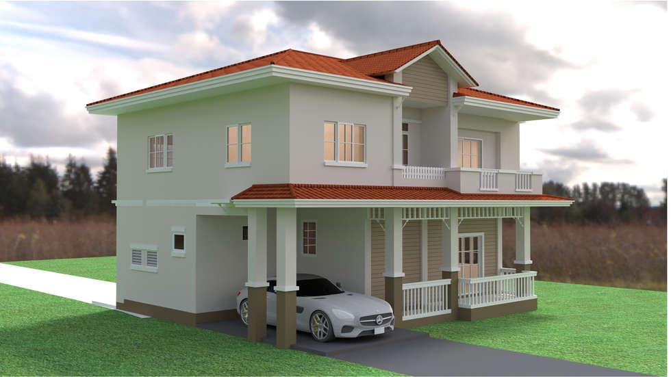 บ้านเดี่ยว 2ชั้น style countryค่ะ:  บ้านและที่อยู่อาศัย by mayartstyle