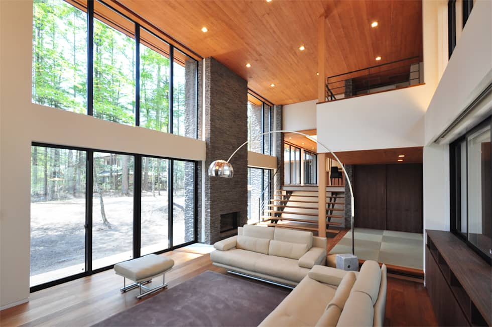 精進場川の家: 鎌田建築設計室が手掛けたリビングです。