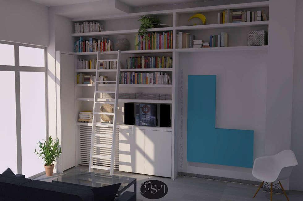 MODELISATION 3D DU PROJET: Salon de style de style Industriel par La C.S.T