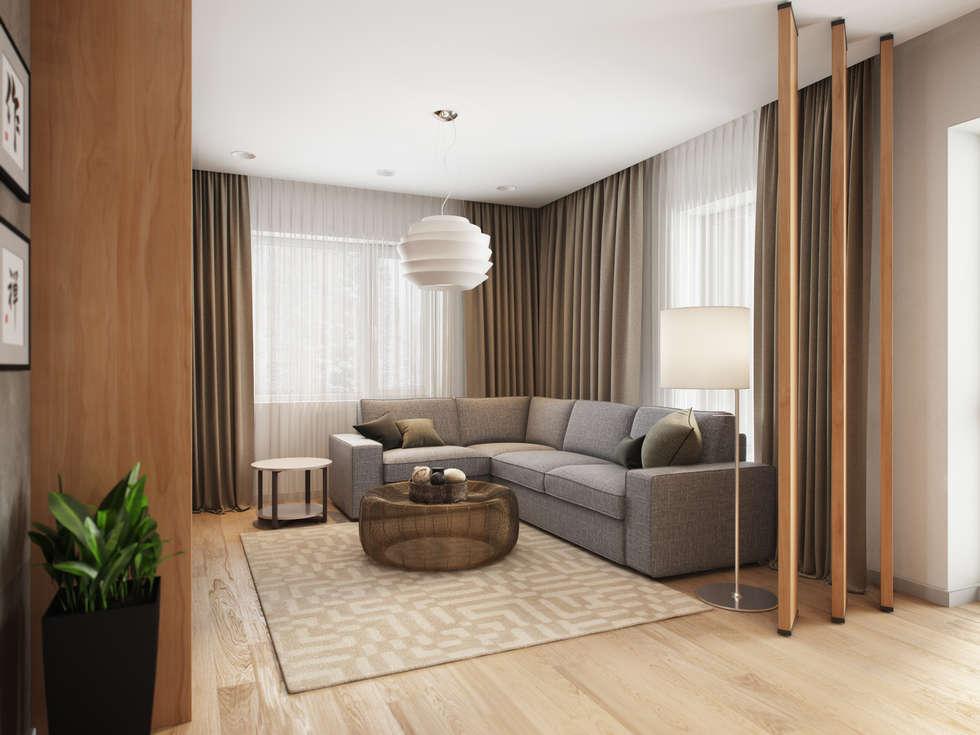 House in Tomsk: modern Living room by EVGENY BELYAEV DESIGN